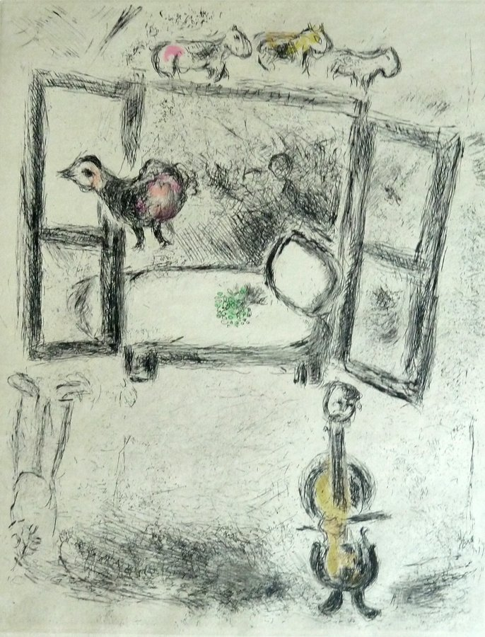 MARC CHAGALL Hand Signed Etching Russian French Edition