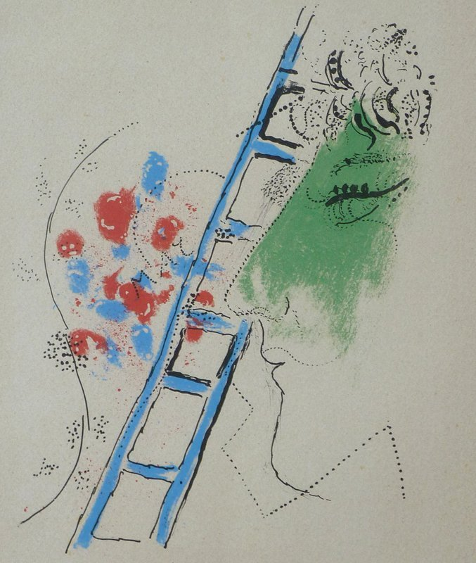 MARC CHAGALL Hand Signed Lithograph 1957