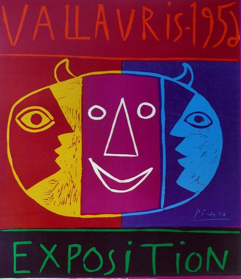 PABLO PICASSO Signed Linoleum Cut  Vallauris 1956