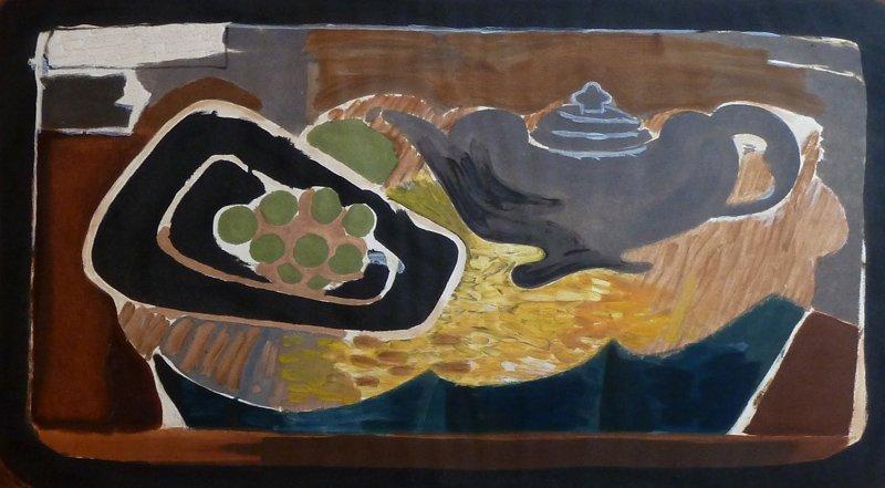 GEORGES BRAQUE Hand Signed Aquatint 1956 Cubism
