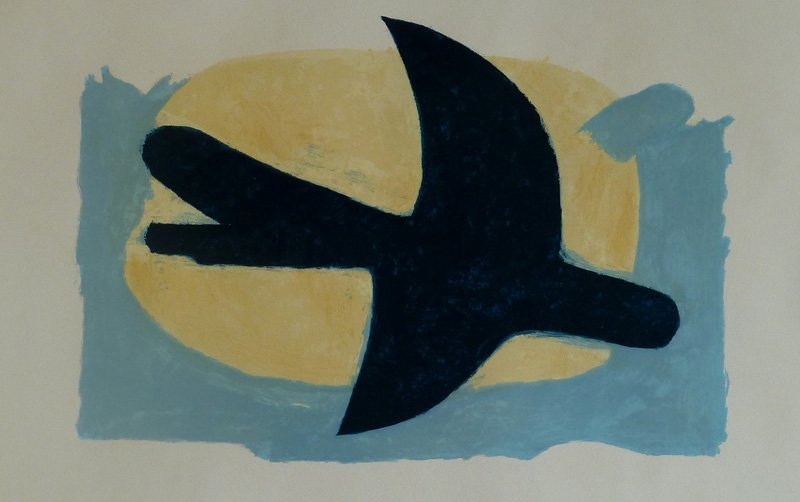 GEORGES BRAQUE Hand Signed Lithograph 1960 Cubism Bird