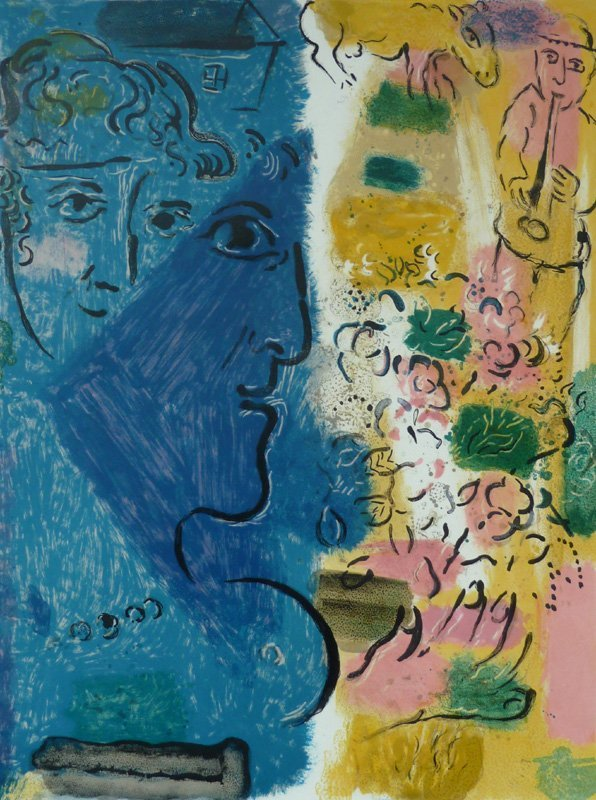 MARC CHAGALL Hand Signed Lithograph 1967