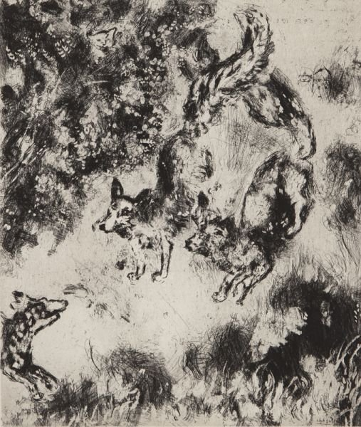 MARC CHAGALL Original Etching French Russian Fontaine
