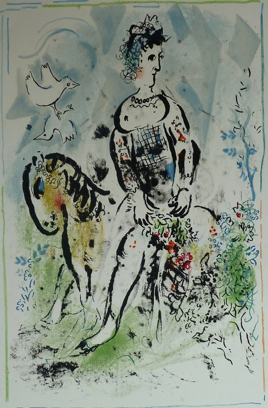 MARC CHAGALL Hand Signed Lithograph Pierrot French
