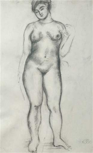 ARISTIDE MAILLOL Signed Charcoal Drawing Nude French