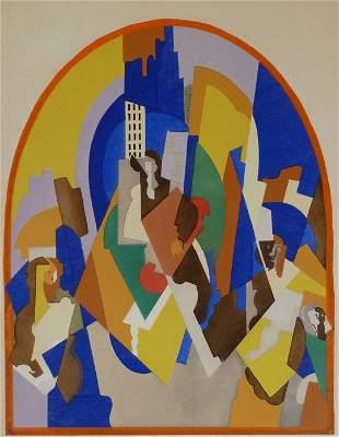 ALBERT GLEIZES Hand Signed Dated Pochoir Cubism 1920