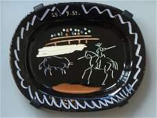 P.PICASSO Stamped Ceramic Plate Corrida Bull Fight 1953