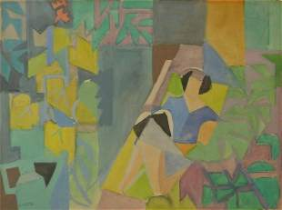 ANDRE LHOTE Hand Signed Gouache Cubism French 1940
