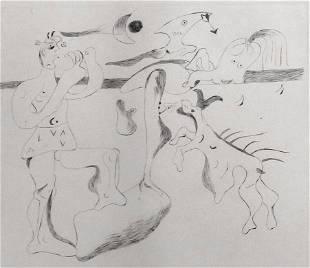 JOAN MIRO Rare Hand Signed Etching 1933 Surrealism