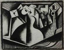 BELA KADAR Original Signed Drawing Cubism Hungarian Art