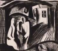 BELA KADAR Original Charcoal Drawing Cubism Hungarian