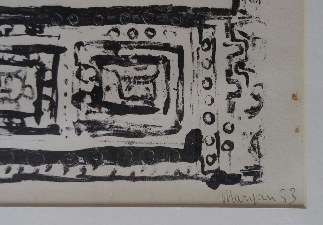 MARYAN Hand Signed Rare Woodcut 1953 French - 2