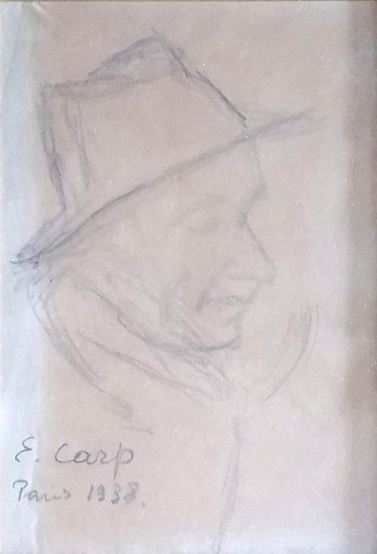 ESTHER CARP Signed Drawing Polish Leon Weissberg 1938
