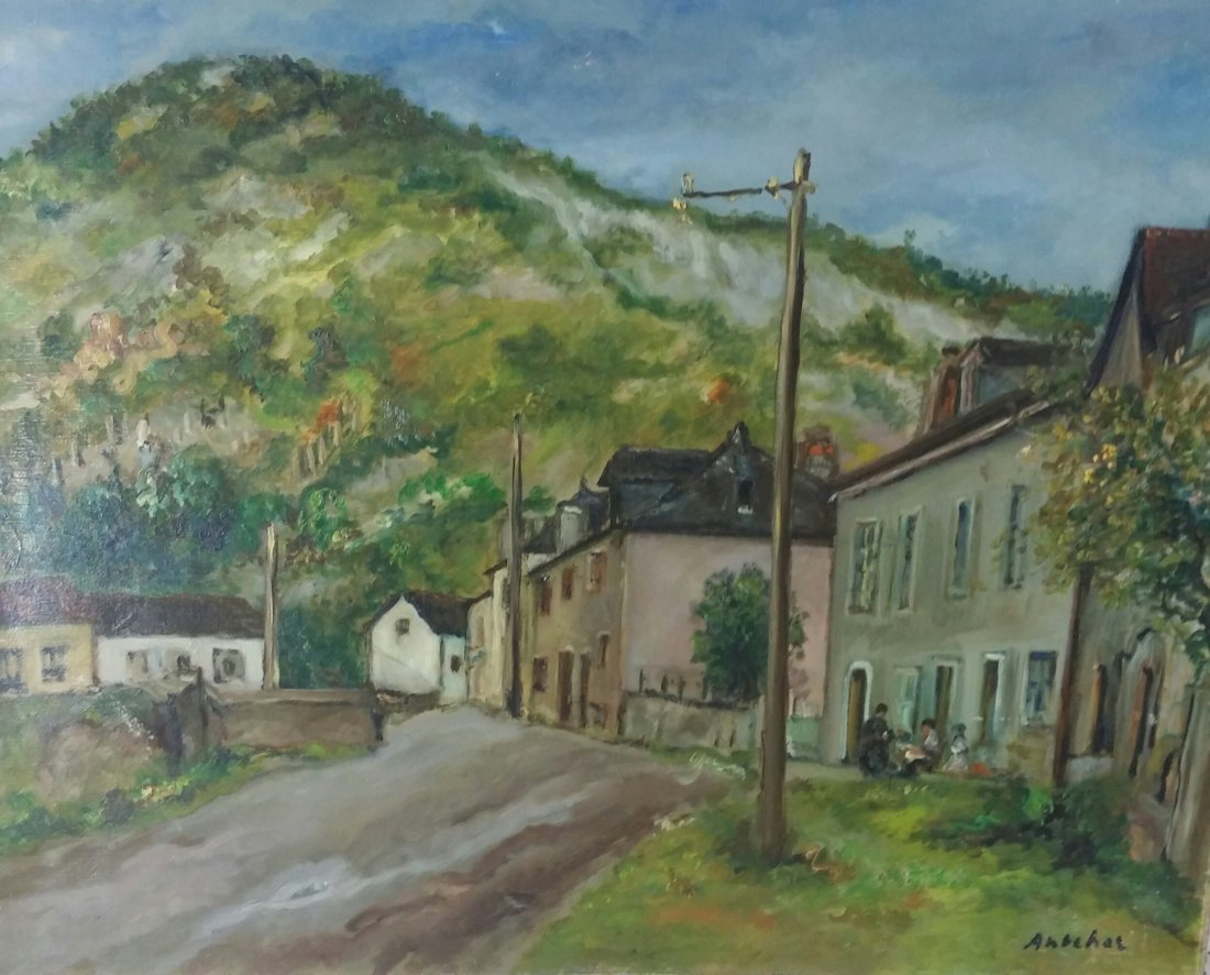 ISAAC ANTCHER Signed Painting Polish Ukrainian Russian
