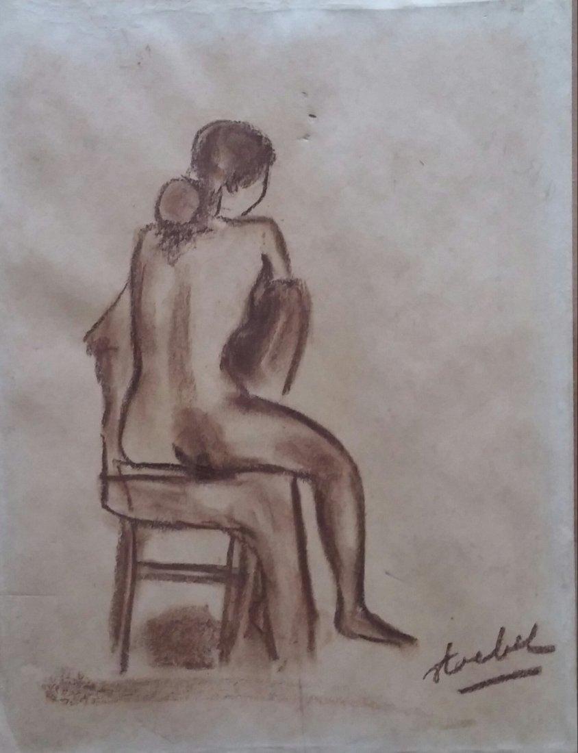 EDGAR STOEBEL Signed Drawing French Ecole de Paris
