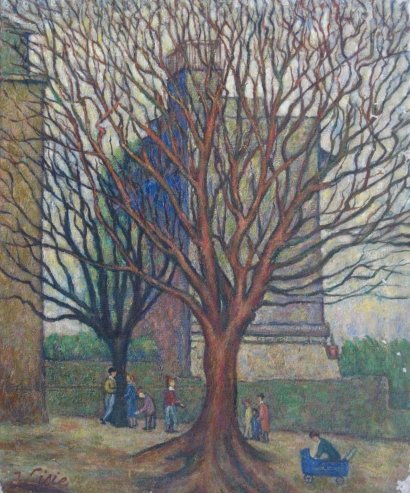 Isaac LISIE Signed Painting 1970  Ecole de Paris French