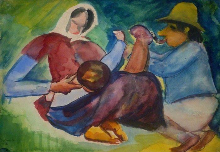 EMIL KELEMEN Signed Painting Hungarian Cubism 1928