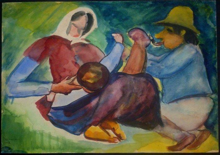 EMIL KELEMEN Signed Painting Hungarian Cubism 1928 - 2