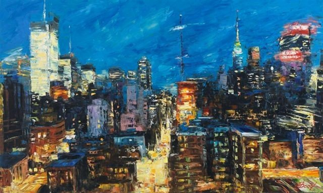 ARTIST: Elena Bond TITLE: Blue Sky, City Lights