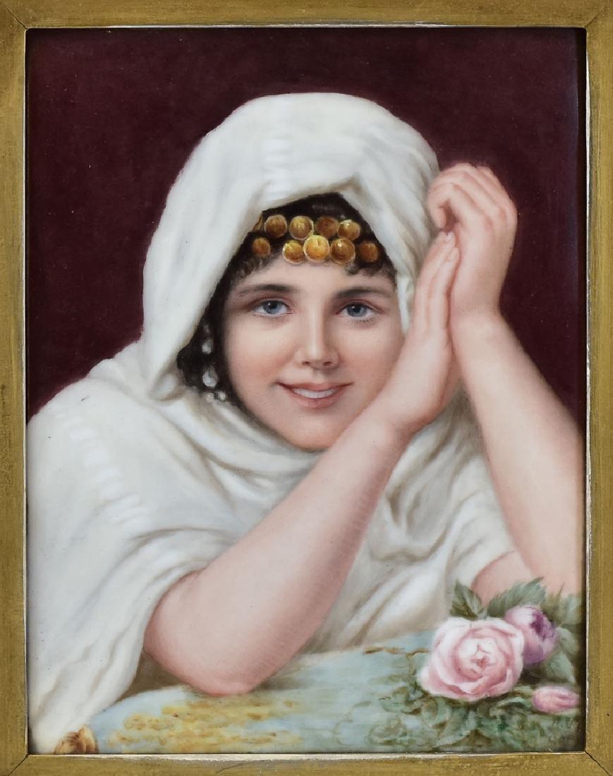Limoges Porcelain Portrait Plaque - 2