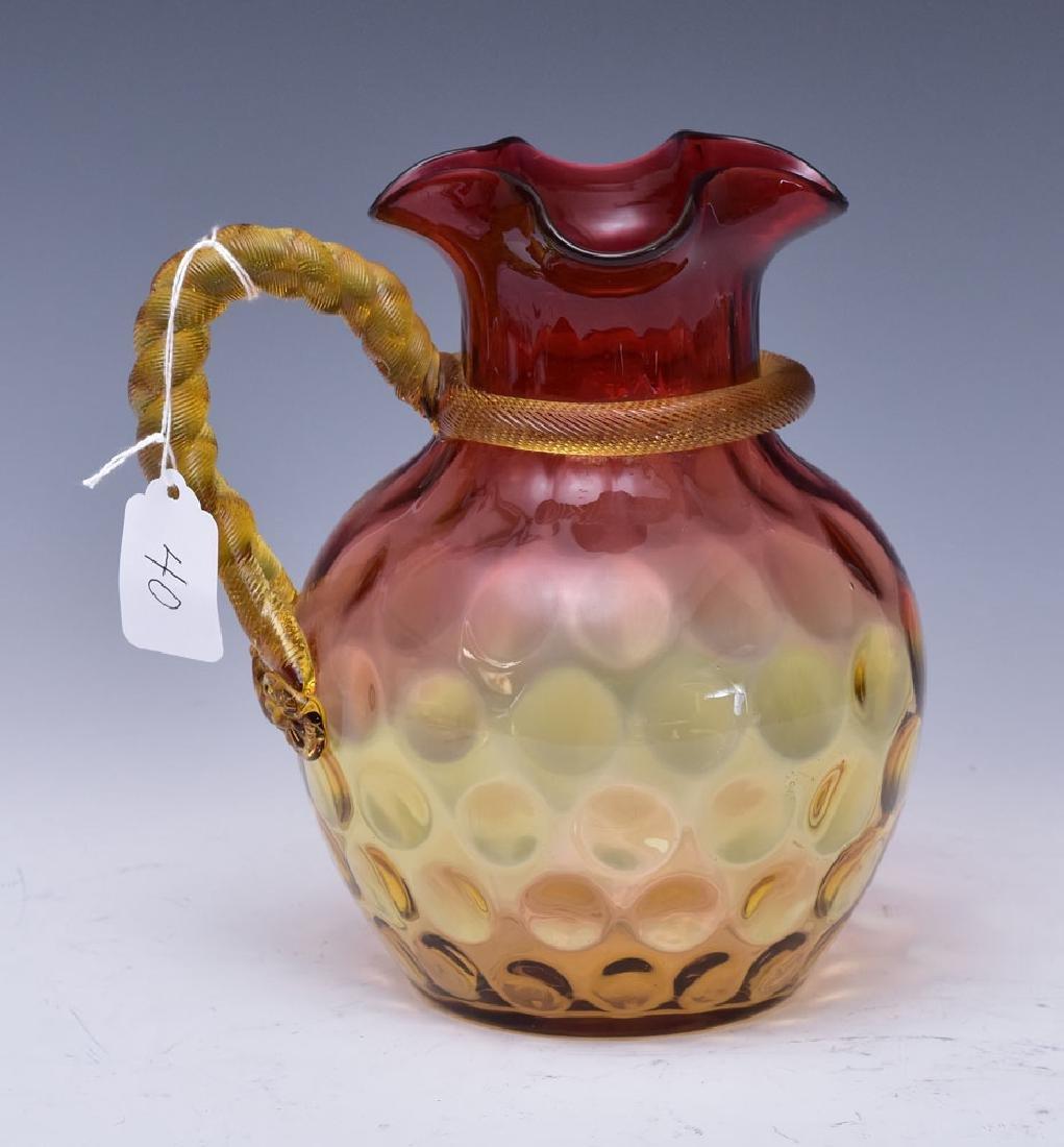 Victorian Amberina Art Glass Pitcher