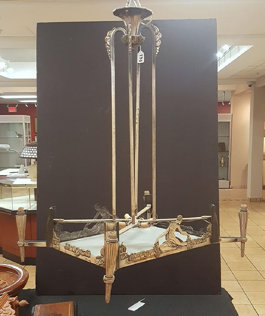 Art Deco Silver Plated Chandelier