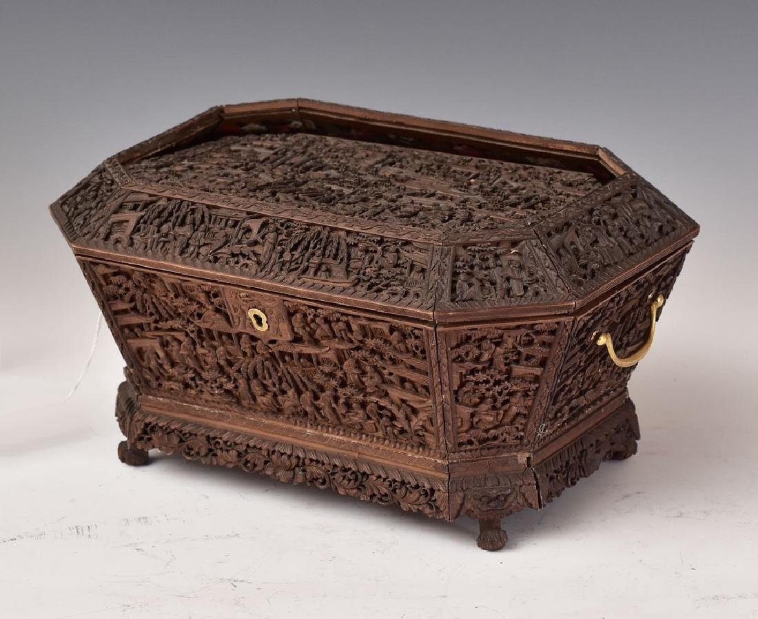 Heavily Carved Asian Sewing Box