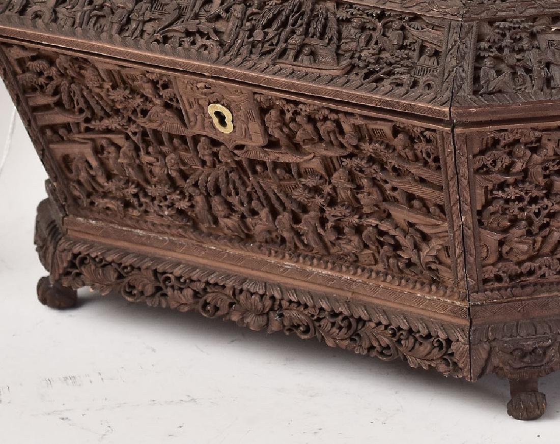 Heavily Carved Asian Sewing Box - 2