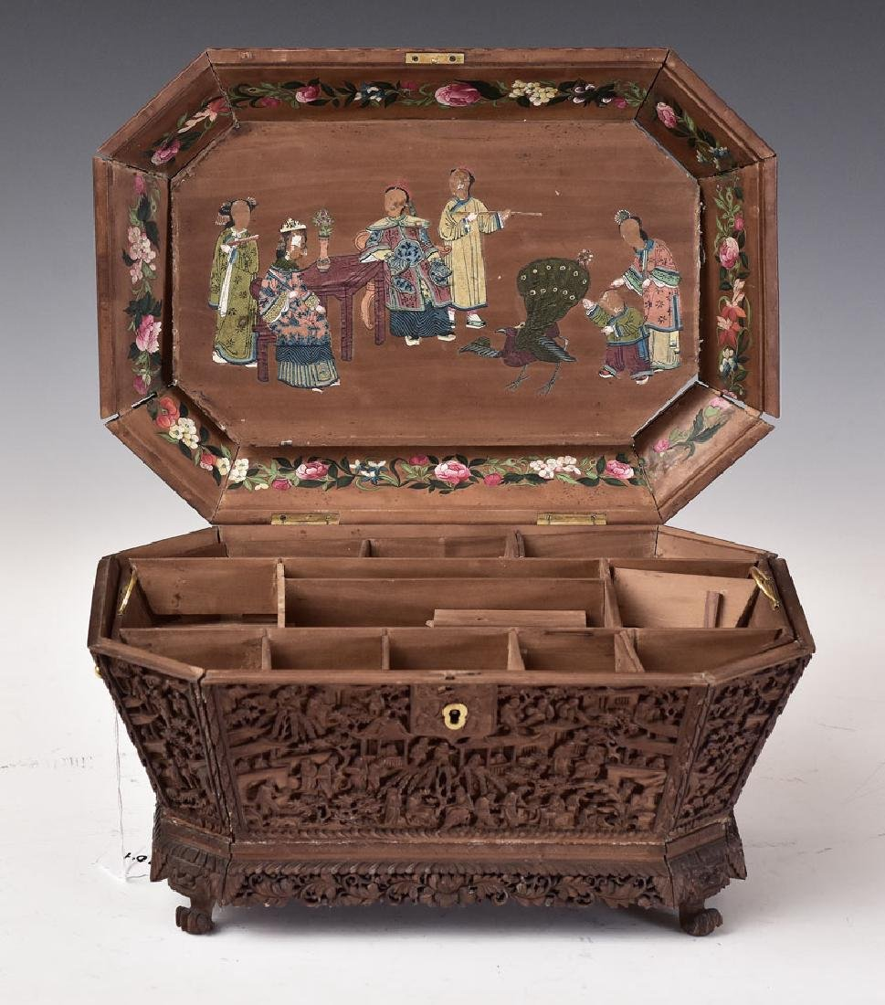 Heavily Carved Asian Sewing Box - 3