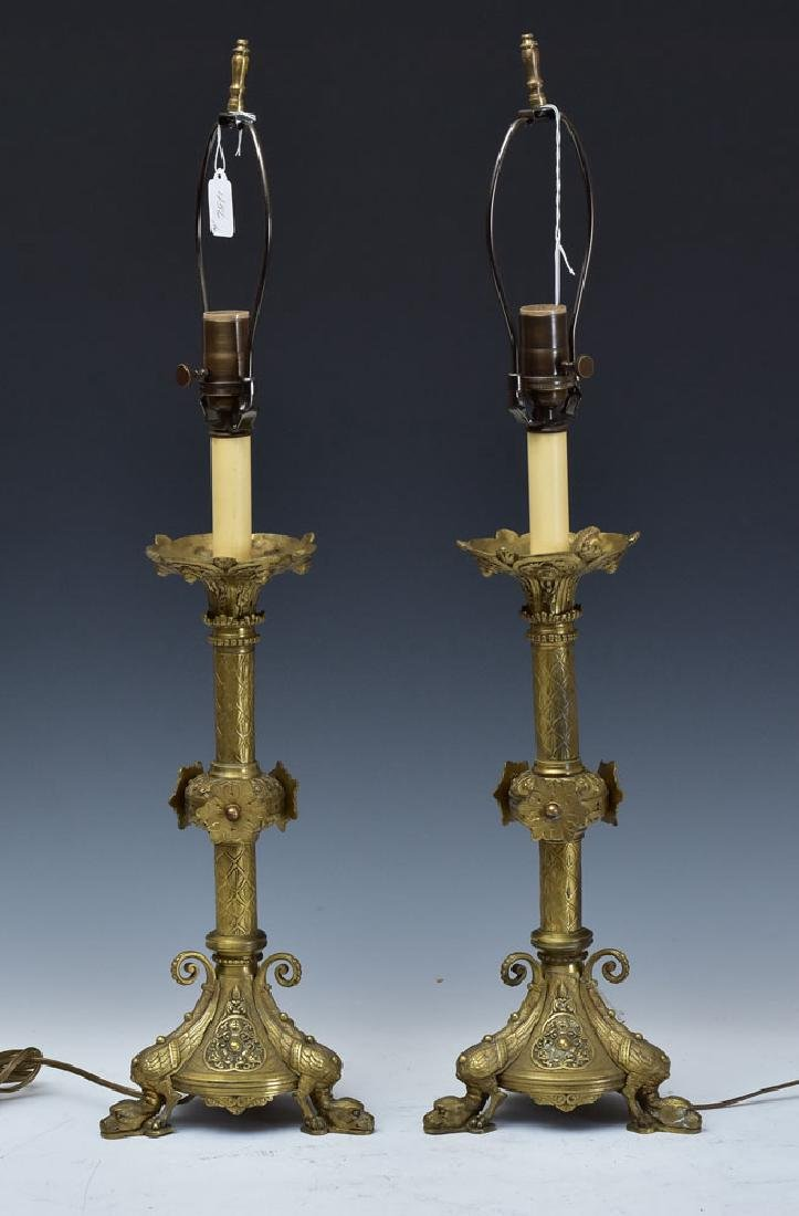 Pair of Gothic Style Bronze Candlestick Lamps