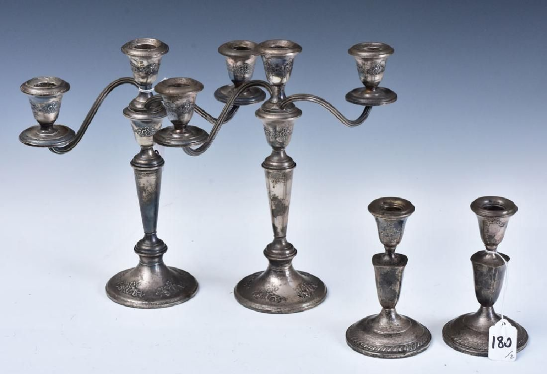 Two Sets of Sterling Silver Candlesticks