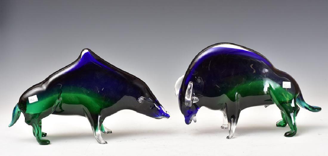 Murano Art Glass Bull and Bear Statues