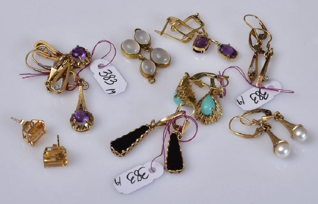 Nine Pairs of 14k Gold Drop Earrings