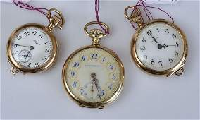 Three 14k Gold Pocket Watches