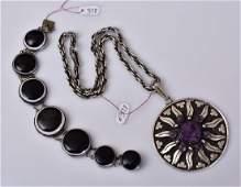 Mexican Sterling Silver Amethyst Sunburst Pendant