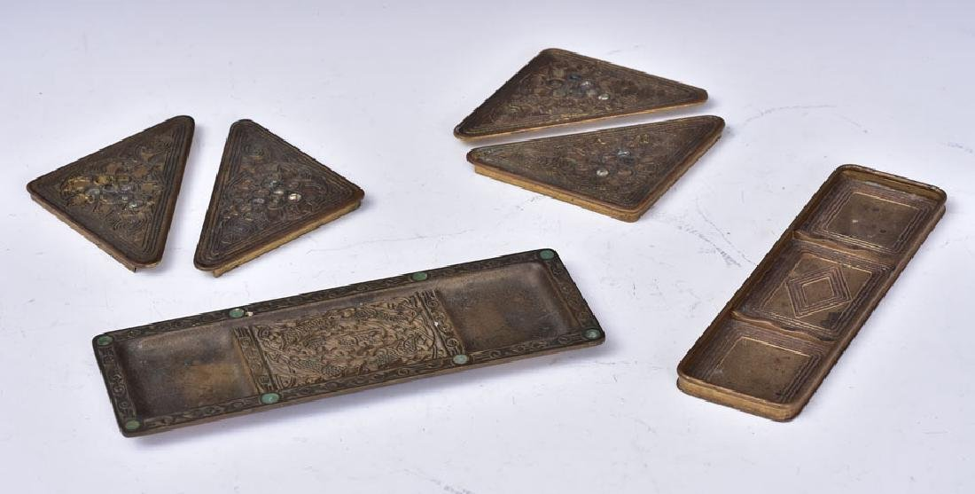Tiffany Studios Bronze Desk Set Pieces
