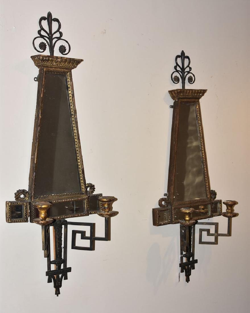 Pair Italian Mirrored Sconces