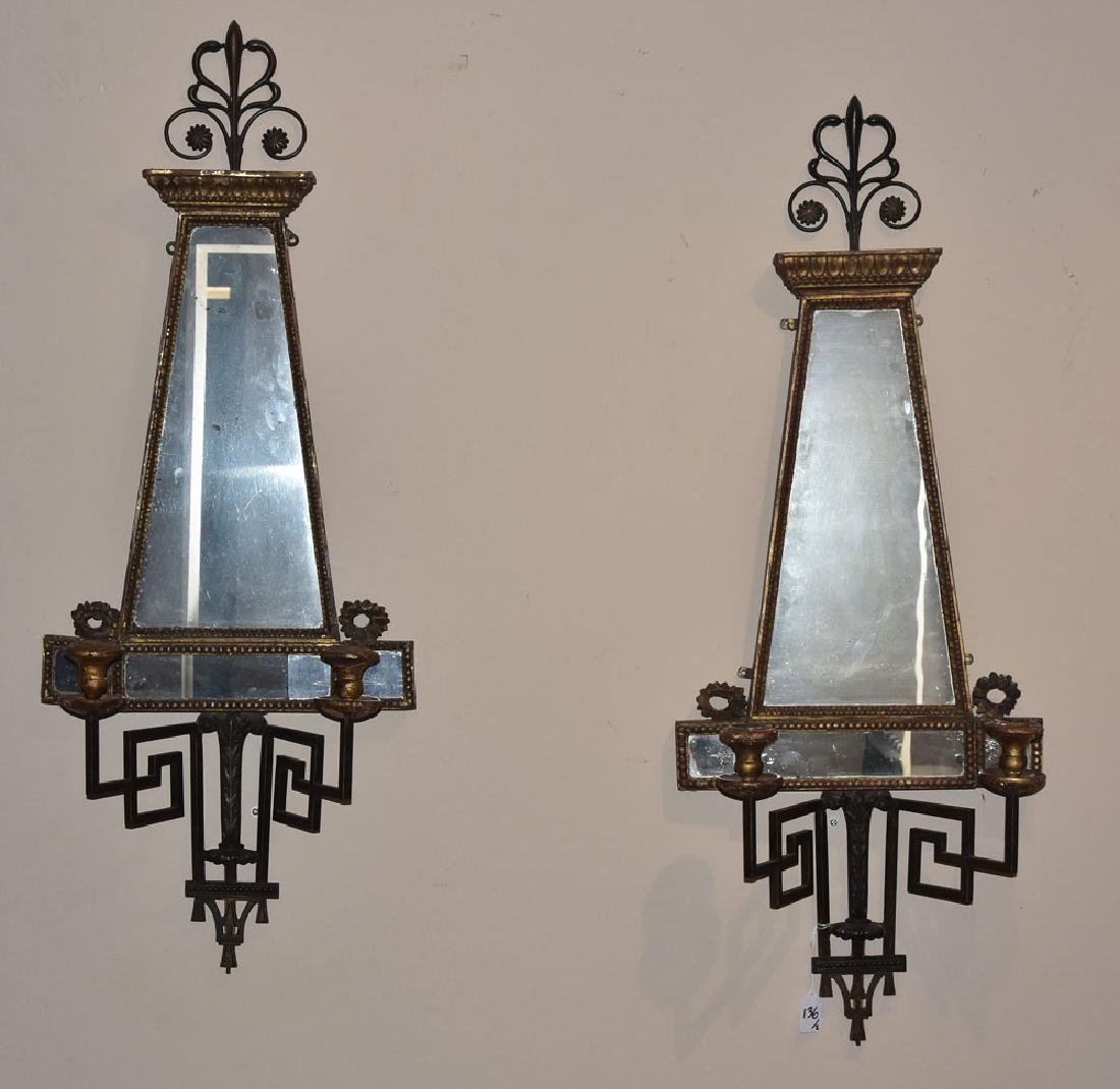 Pair Italian Mirrored Sconces - 2