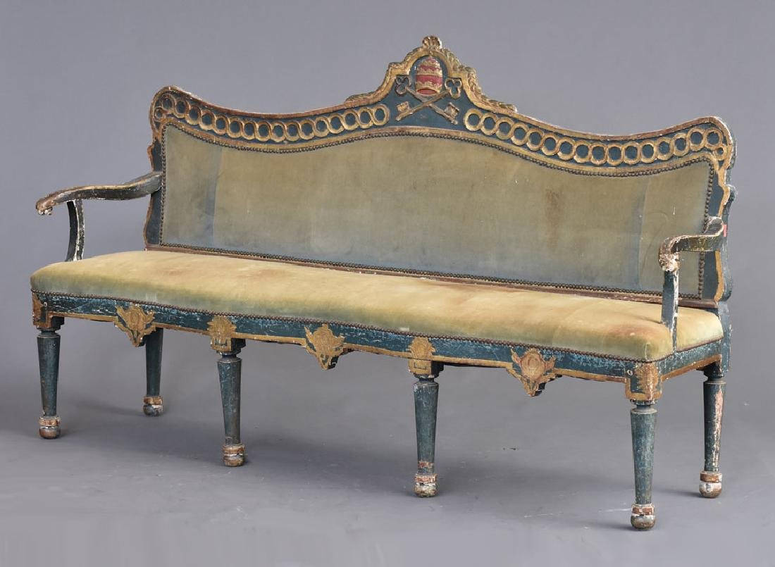 Italian Gilt and Paint Decorated Settee