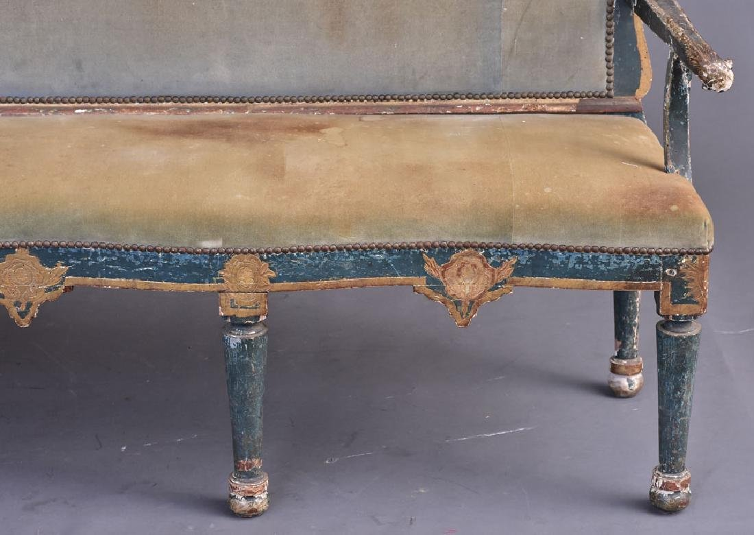 Italian Gilt and Paint Decorated Settee - 3
