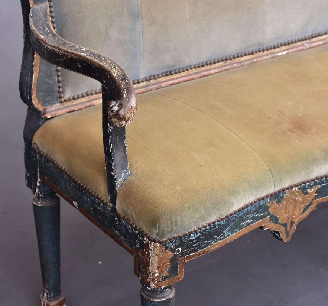 Italian Gilt and Paint Decorated Settee - 5