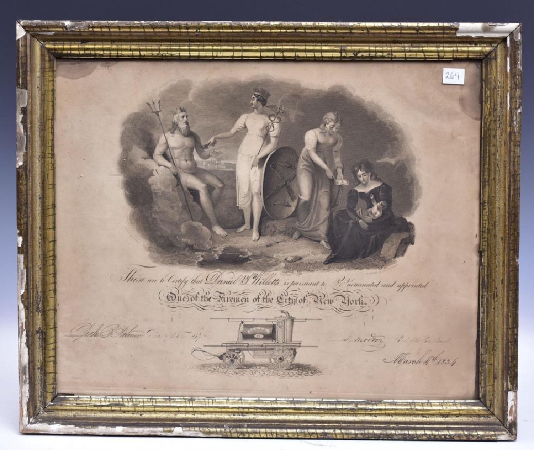 New York Fireman's Certificate 1834