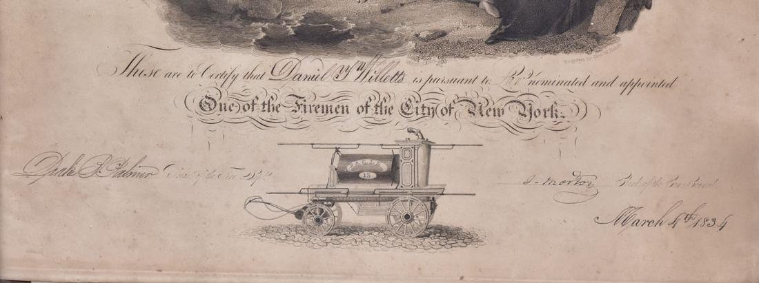 New York Fireman's Certificate 1834 - 2