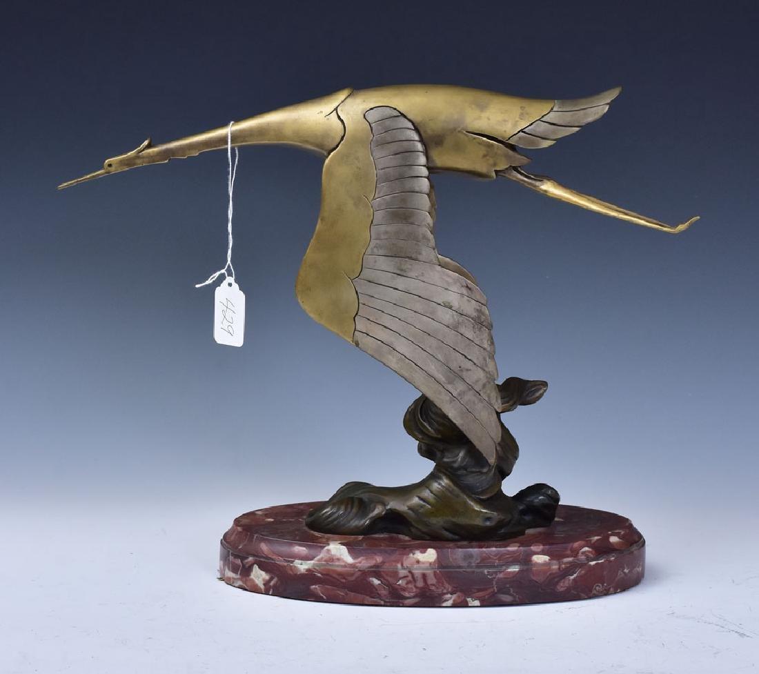 Art Deco Bronze Goose Sculpture