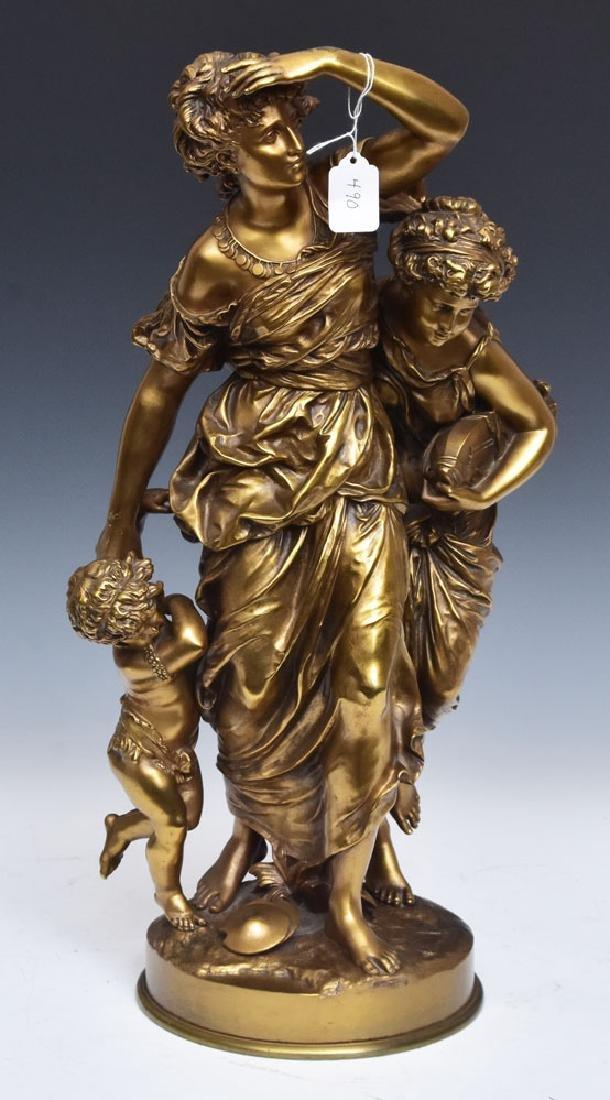 after Mathurin Moreau Gilt Bronze Statue