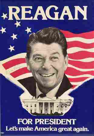 Autographed Ronald Reagan Campaign Poster