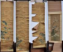 Four Chinese Embroidered/Painted Scrolls