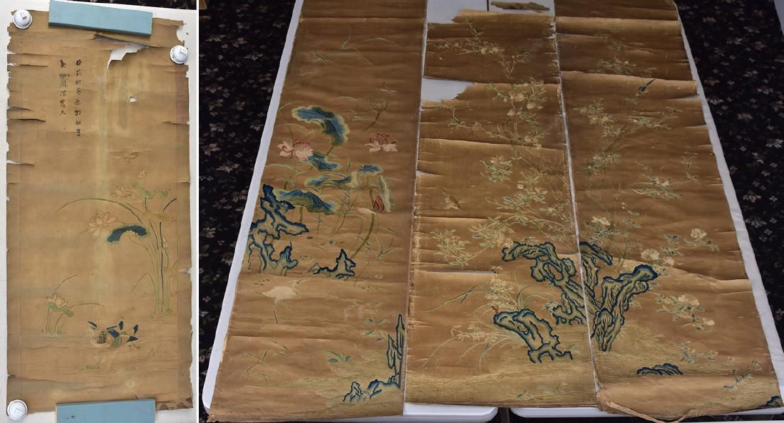 Four Early Chinese Embroidered/Painted Scrolls