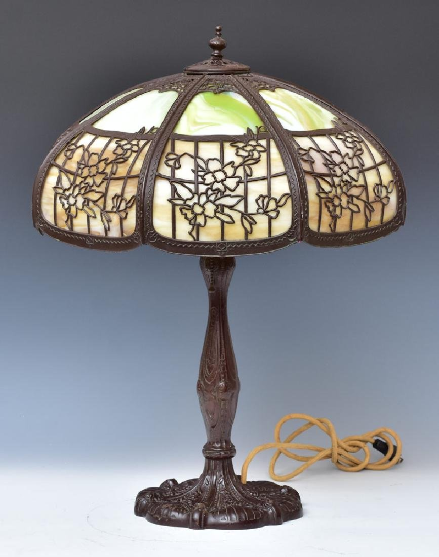 Stained Glass Overlay Parlor Lamp