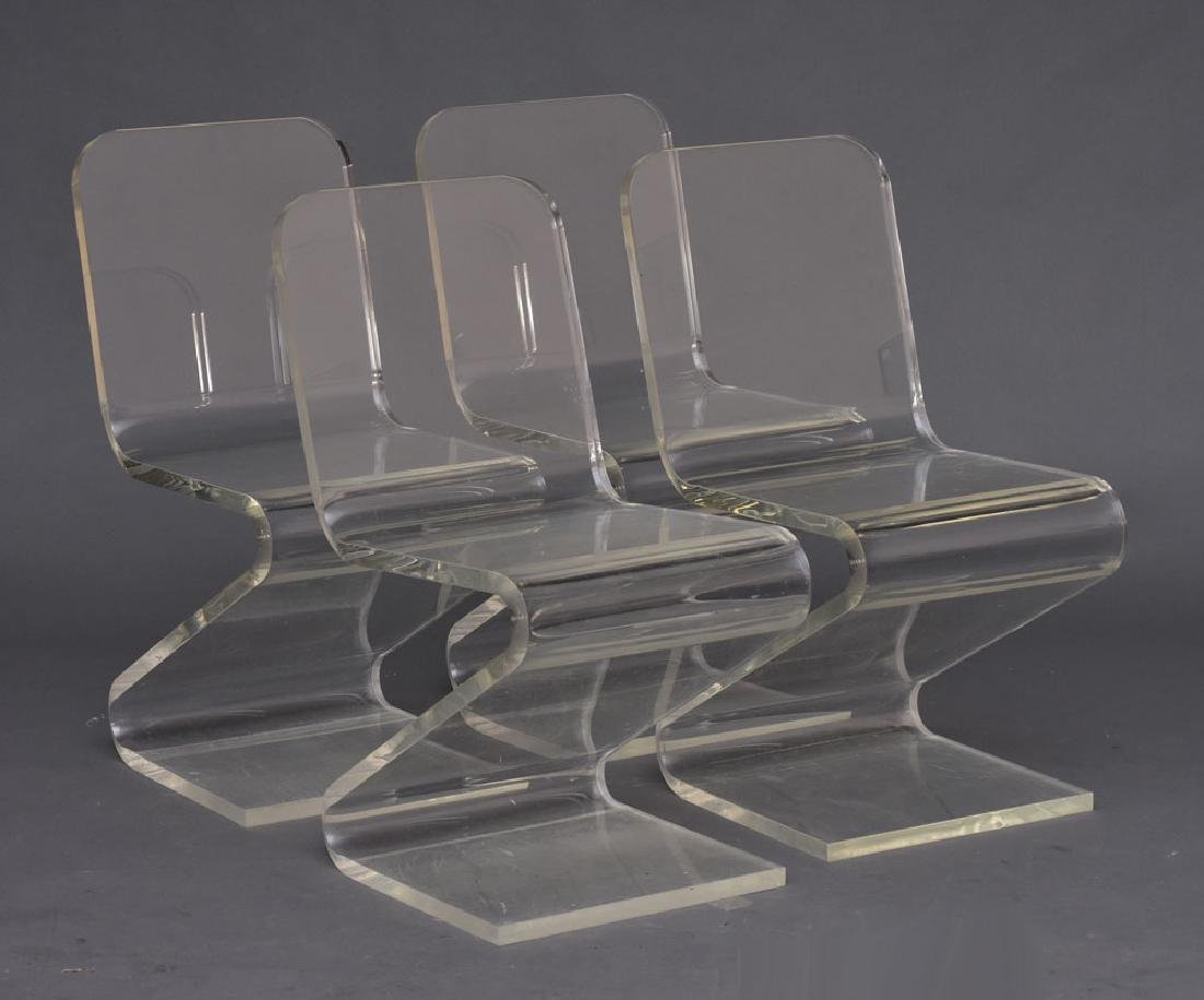 Set of Four Lucite Acrylic Zig Zag Z Chairs